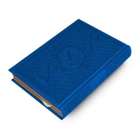 Le Coran Arc-en-ciel version arabe (Lecture Hafs) - Couverture couleur Bleu de luxe - Rainbow - Editions Orientica