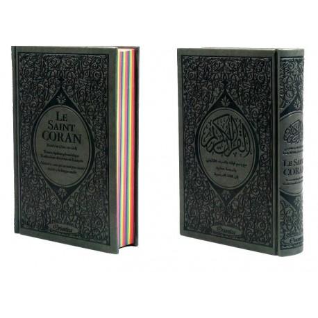 Le Saint Coran Rainbow (Arc-en-ciel) - Français/arabe avec transcription phonétique - Edition de luxe (Couverture Cuir Grise)