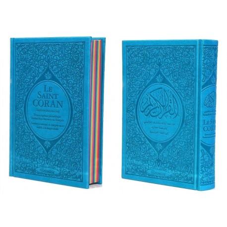 Le Saint Coran Rainbow (Arc-en-ciel) - Français/arabe avec transcription phonétique - Edition de luxe (Couverture Cuir Bleu)