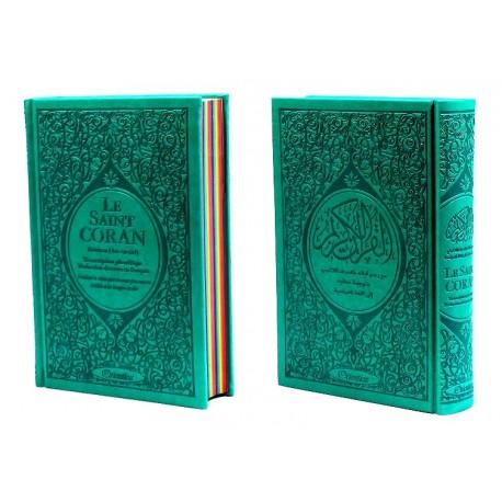 Le Saint Coran Rainbow (Arc-en-ciel) - Français, arabe, phonétique - Edition de luxe (Couverture Cuir Bleu)