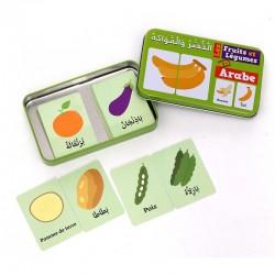 Ma Boîte Puzzle DUO Les Fruits et Légumes : 32 Pièces (Boîte Métallique) - Arabe/Français - Osratouna