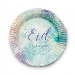 Plaques aquarelle - lot de 6 assiettes - Eid moubarak
