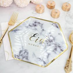 Assiettes marbre doré - lot de 6 assiettes - Eid moubarak