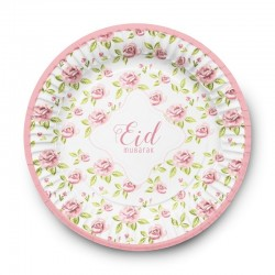 Assiettes vintage rose - lot de 6 assiettes - Eid moubarak