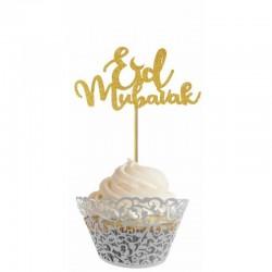 Stick cupcake à paillettes dorées - lot de 5 - Eid moubarak