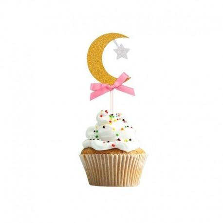 Stick cupcake en forme de lune dorée /rose - lot de 6 - Eid moubarak
