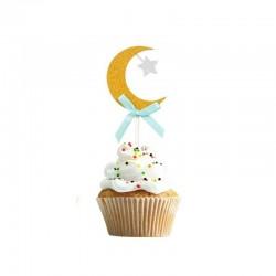 Stick cupcake en forme de lune dorée /bleu - lot de 6 - Eid moubarak