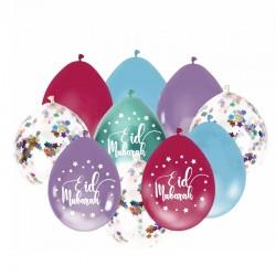Ballon Eid moubarak mix multicouleurs pastel confetti (10 pieces)  - Eid moubarak