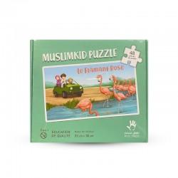 Puzzle Grand Format - le Flamant Rose - 48 Pièces - Muslim Kid - 3 ans+