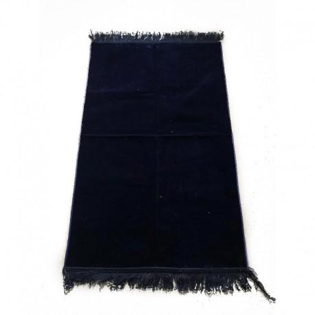 Tapis de prière adulte ultra-doux - Couleur bleu nuit unie sans motifs