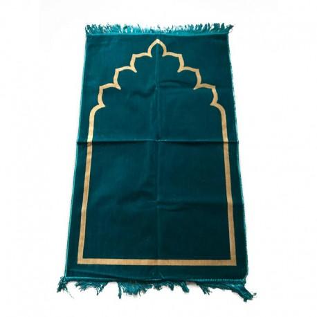 Tapis de prière adulte ultra-doux - Couleur turquoise motif simple