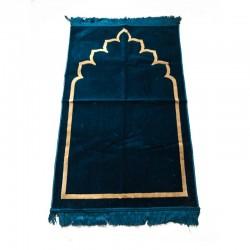 Tapis de prière adulte ultra-doux - Couleur bleu motif simple