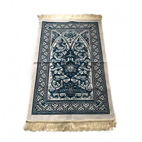 Tapis de prière adulte ultra-doux - Couleur blanc avec motif turquoise