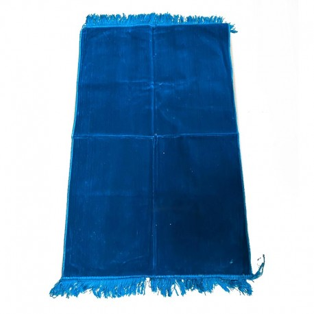 Tapis de prière adulte ultra-doux - Couleur bleu unie sans motifs