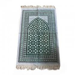 Tapis de prière adulte ultra-doux - Couleur blanc avec motif vert