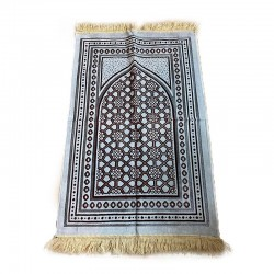 Tapis de prière adulte ultra-doux - Couleur blanc avec motif brun