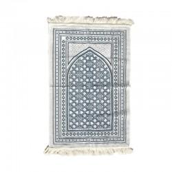 Tapis de prière adulte ultra-doux - Couleur blanc avec motif bleu