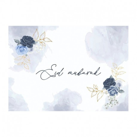 Napperons Bleu pivoine (lot de 6) - Eid moubarak