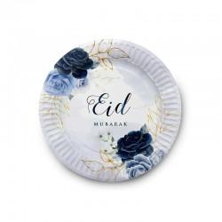 Assiettes Bleu pivoine - lot de 6 assiettes - Eid moubarak