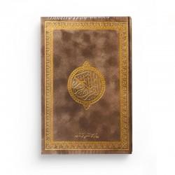 Le Saint Coran version arabe (Lecture Hafs) de luxe avec couverture brun dorée (14 x 20 cm)