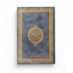 Le Saint Coran version arabe (Lecture Hafs) de luxe avec couverture gris foncé dorée (14 x 20 cm)