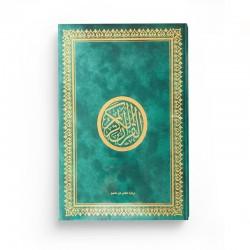 Le Saint Coran version arabe (Lecture Hafs) de luxe avec couverture vert dorée (25 x 35 cm) - GRAND FORMAT