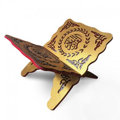 Grand porte Coran en bois doré avec motifs décoratifs