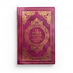 Le Noble Coran et la traduction en langue française de ses sens - couverture cartonnée en daim couleur fushia doré