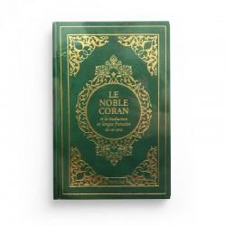 Le Noble Coran et la traduction en langue française de ses sens - couverture cartonnée en daim couleur vert doré