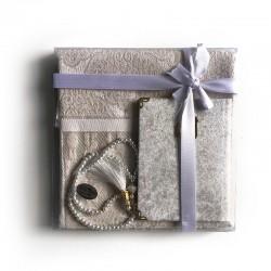 Coffret cadeau : Coran + tasbih + Tapis de priere : BLANC
