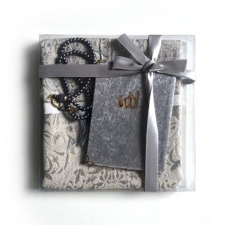 Coffret cadeau : Coran + tasbih + Tapis de priere : GRIS