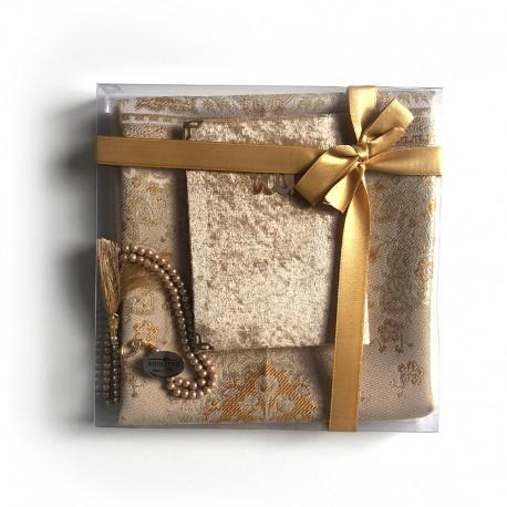 Coffret cadeau : Coran + tasbih + Tapis de priere : Doré