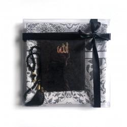 Coffret cadeau : Coran + tasbih + Tapis de priere : NOIR