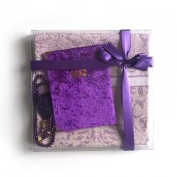 Coffret cadeau : Coran + tasbih + Tapis de priere : VIOLET