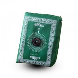Tapis de prière de poche avec boussole et poids intégrés (pliable avec sa sacoche et transportable pour voyage...)