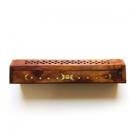 Porte encens - Coffret en bois décoré avec compartiment pour stocker les sticks et les bruler (bruleur)