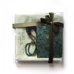 Coffret cadeau : Coran + tasbih + Tapis de priere : vert foncé