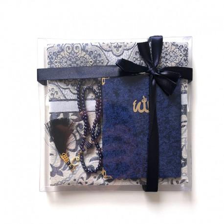 Coffret cadeau : Coran + tasbih + Tapis de priere : bleu foncé