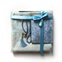 Coffret cadeau : Coran + tasbih + Tapis de priere : bleu ciel