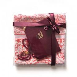 Coffret cadeau : Coran + tasbih + Tapis de priere : bordeaux
