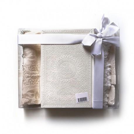GRAND Coffret cadeau : Coran + tasbih + Tapis de priere : BLANC