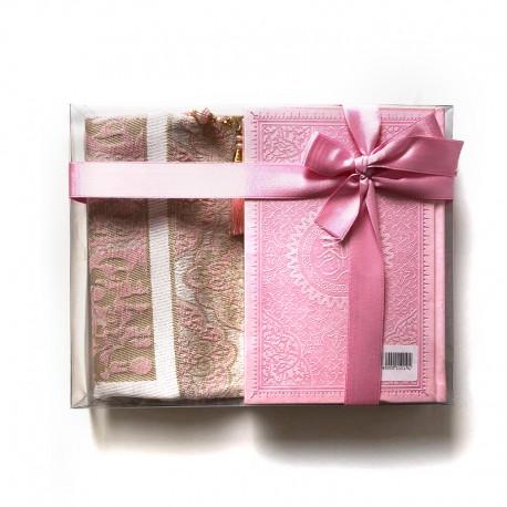 GRAND Coffret cadeau : Coran + tasbih + Tapis de priere : ROSE