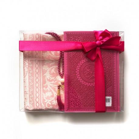 GRAND Coffret cadeau : Coran + tasbih + Tapis de priere : fuchsia