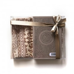 GRAND Coffret cadeau : Coran + tasbih + Tapis de priere : taupe