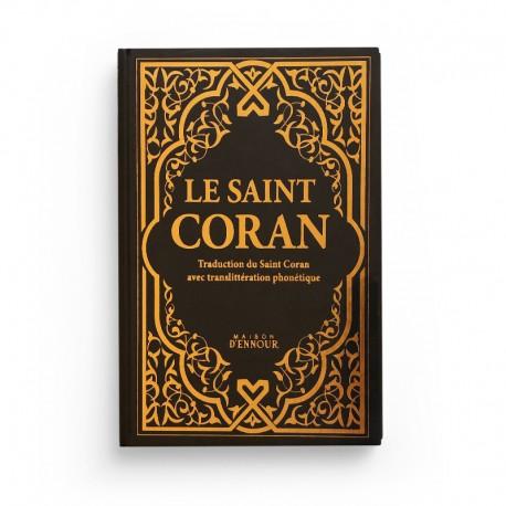 Le Saint Coran noir doré - Couverture Daim - Pages Arc-En-Ciel - Français-Arabe-Phonétique - Maison Ennour