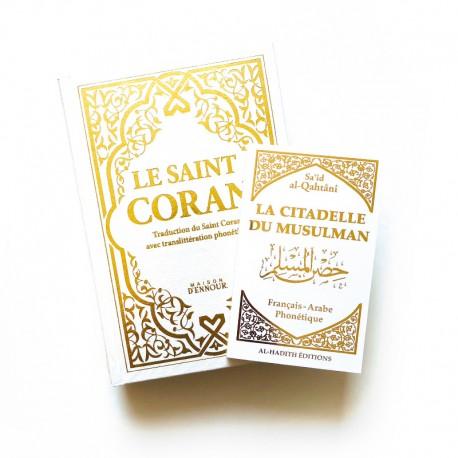 Pack : CORAN Blanc DORÉ - FRANÇAIS-ARABE-PHONÉTIQUE - Citadelle du musulman blanc