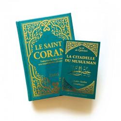 Pack : CORAN Turquoise DORÉ - FRANÇAIS-ARABE-PHONÉTIQUE - Citadelle du musulman turquoise