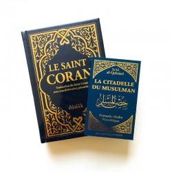 Pack : CORAN Bleu nuit DORÉ - FRANÇAIS-ARABE-PHONÉTIQUE - Citadelle du musulman bleu